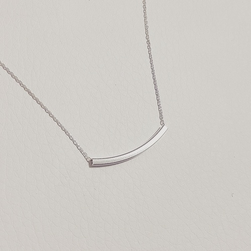 silver round bar necklace